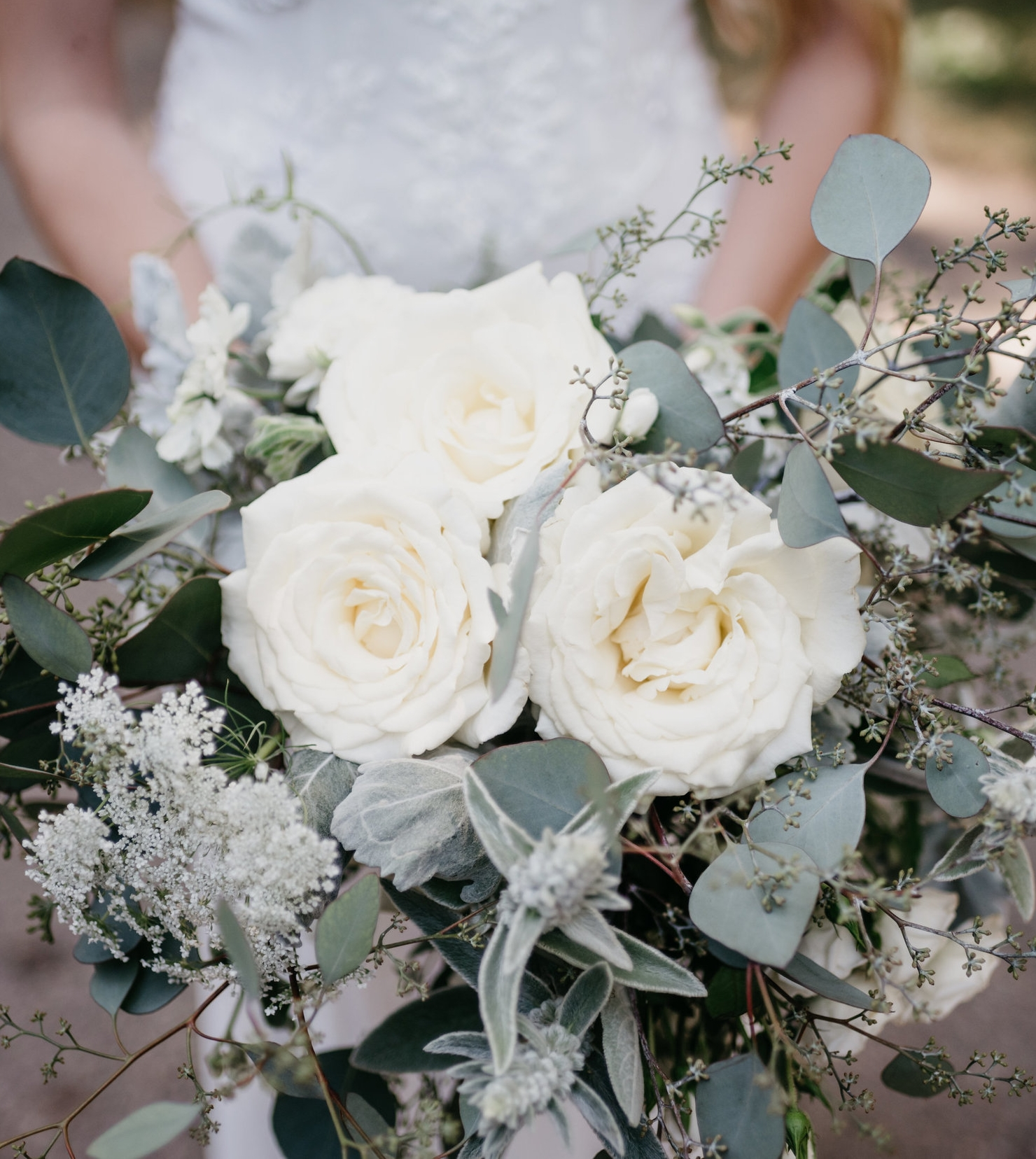 greenery and white bride bouquet