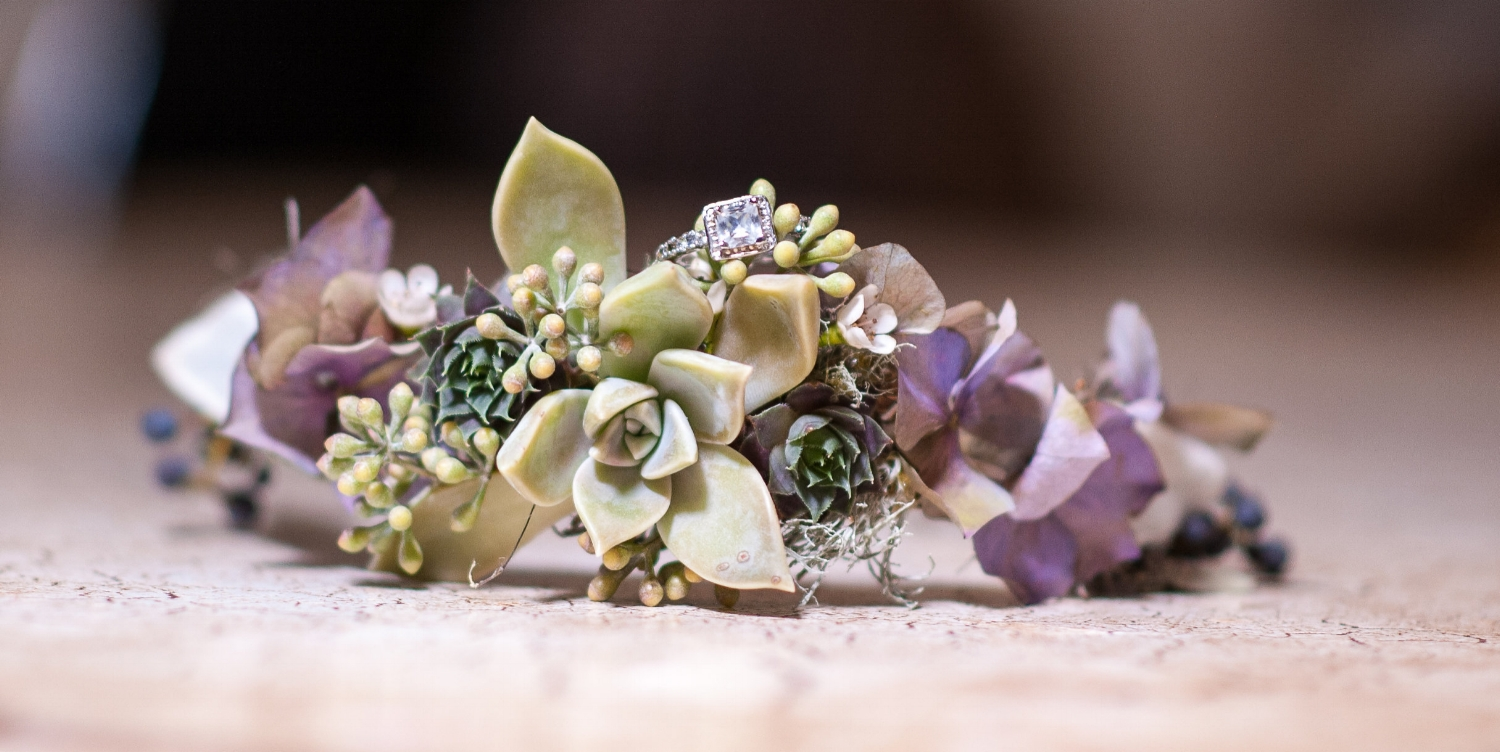- I used the same technique making this succulent crown. It also has hydrangea blossoms, privet berries, and eucalyptus seeds. (Jen Vazquez Photography)