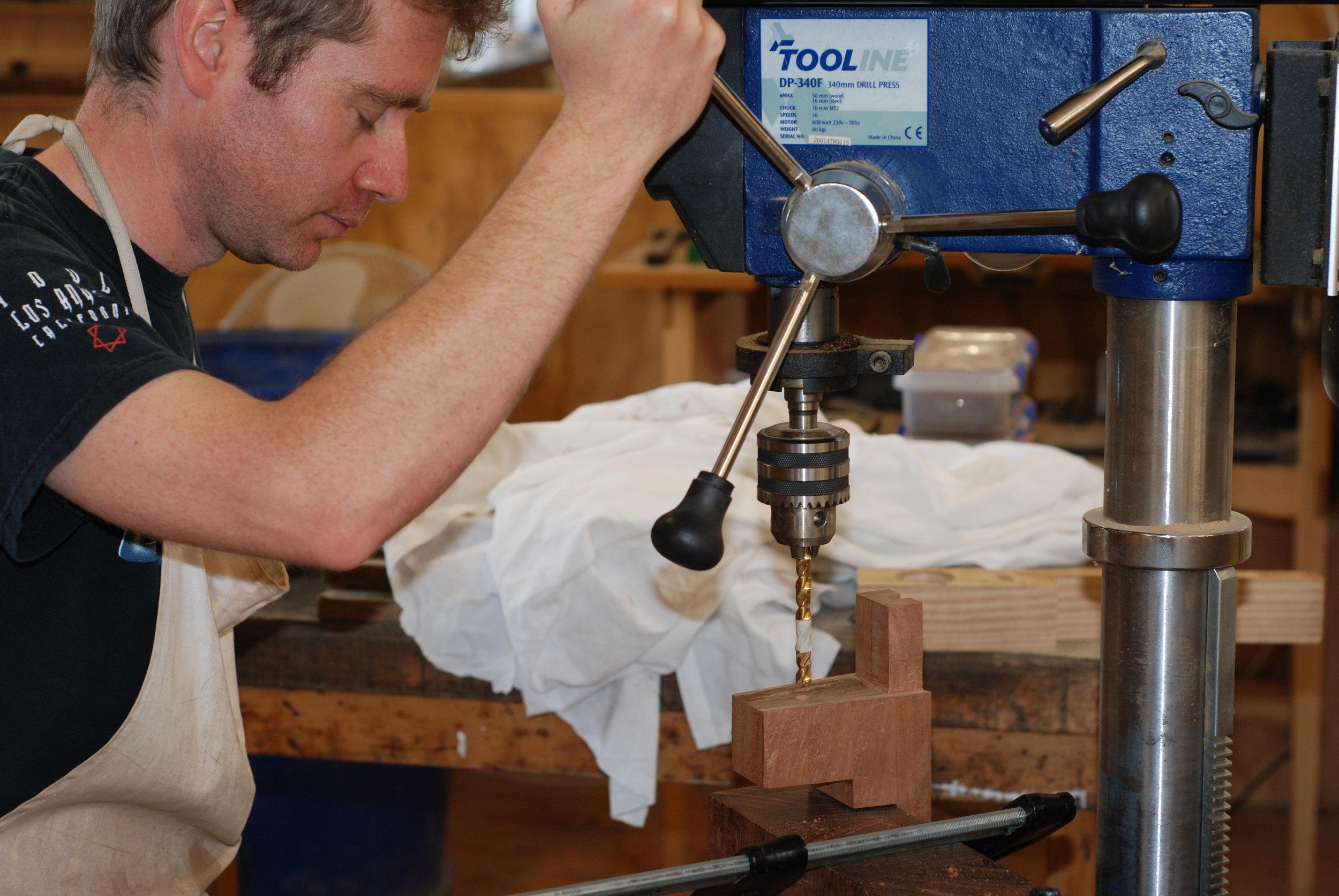 drilling holes for neck bolt threaded inserts.JPG