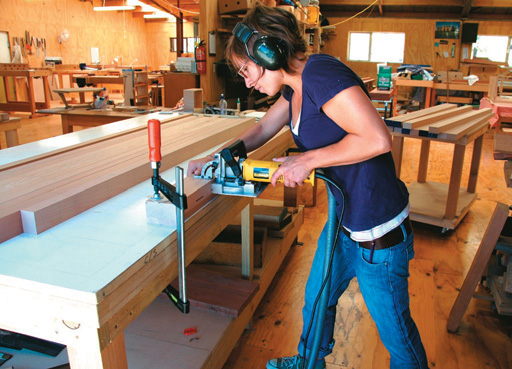 Cutting biscuit slots in bench planks