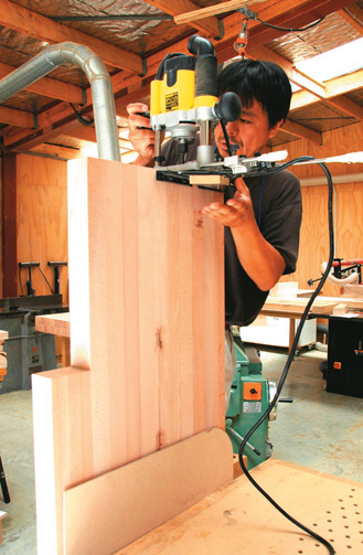 Ryo routs bench for friction-fit spline