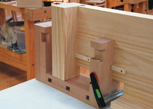 Vice in place on bench allows locaton of matching rebate in bench-end
