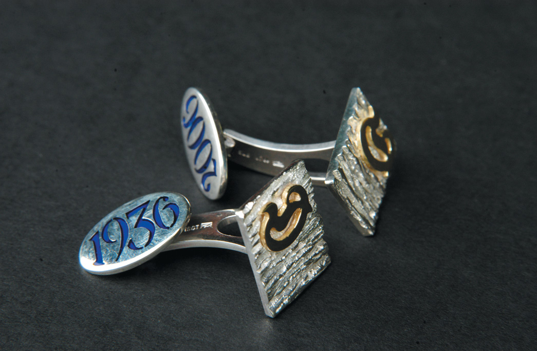 Create textured, monogrammed silver cufflinks as a gift to celebrate a special date or person