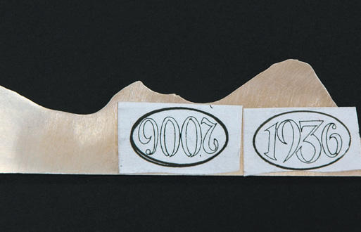Sketched numbers on template copper