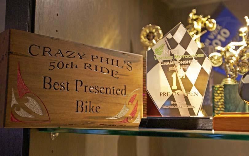 Trophies representing Phil Grant of Norsewood and Steve's vintage 1974 Maico 440 GP vintage bike.