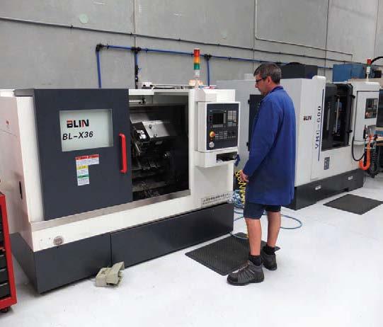 Hi-tech tooling at Rocket Lab includes a CNC lathe.
