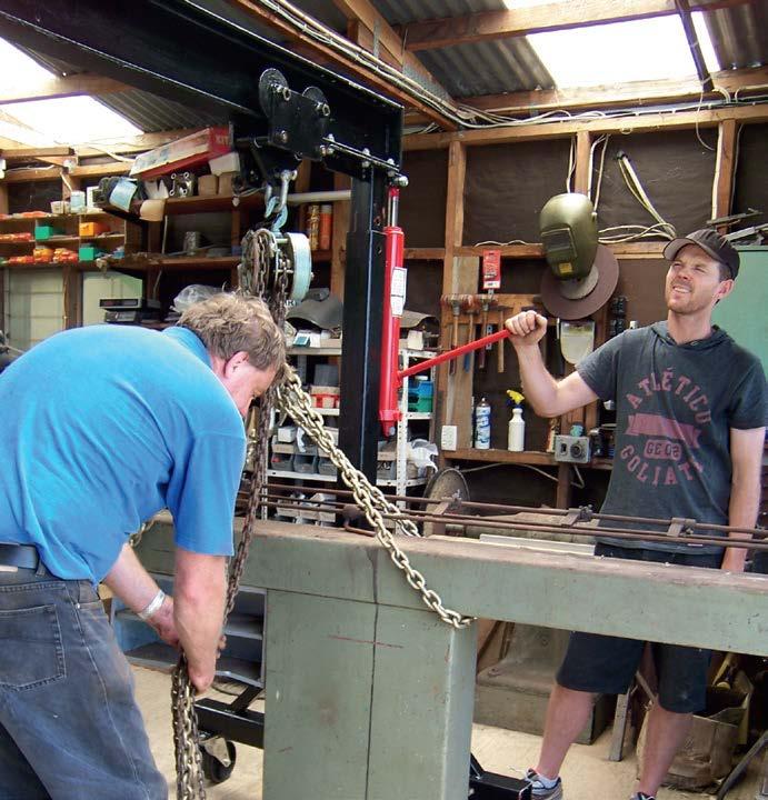 preparing to lift 300kg italian-made mandrel tube bender
