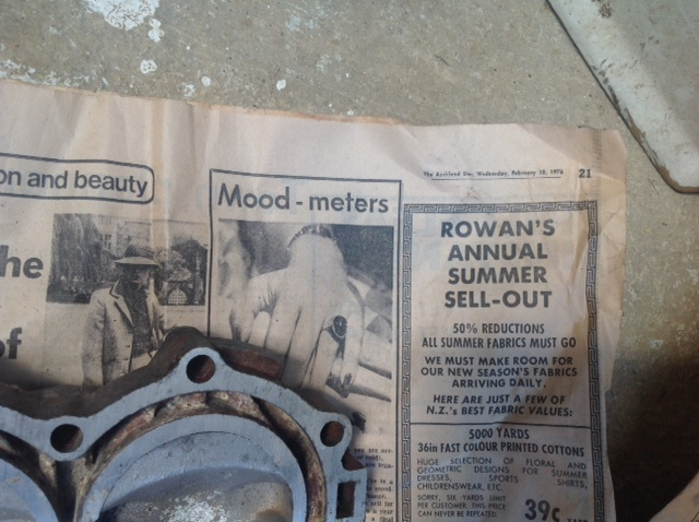 Even the newspaper wrapping the parts is from the 1970s