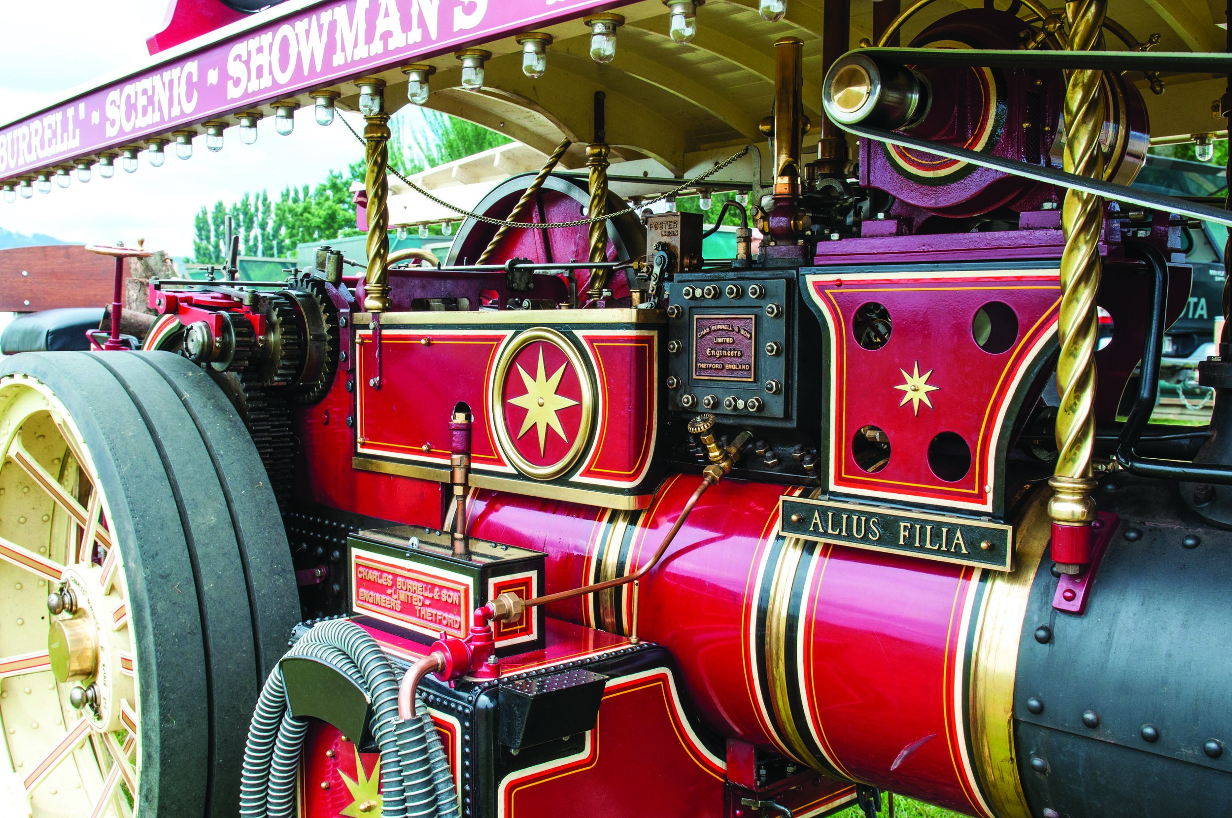 Win's award-winning Burrell Scenic Showman's road locomotive has featured in Australian and English model engineering magazines and been compared with the 1921 Lord Lascelles, regarded as one of finest models on the UK rally circuit