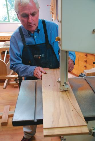 The top rail curve easily cut on the bandsaw.