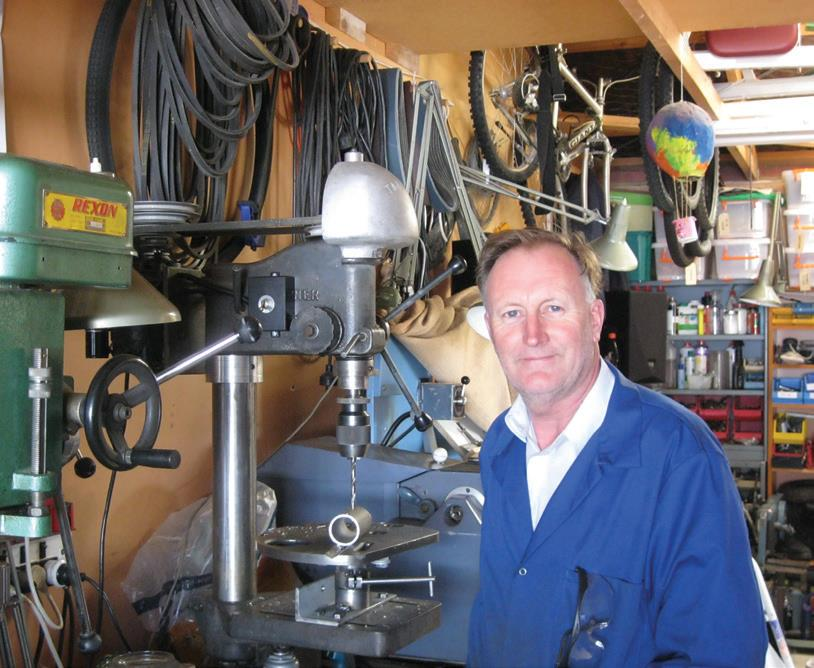 Bryce and his refurbished drill press,