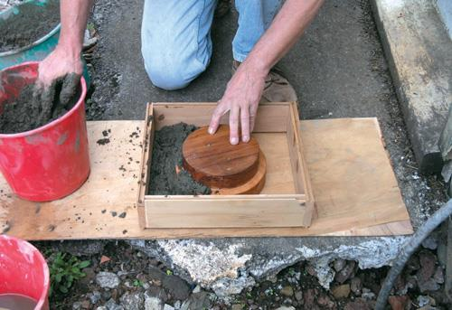 Casting stepped hole with wood core.