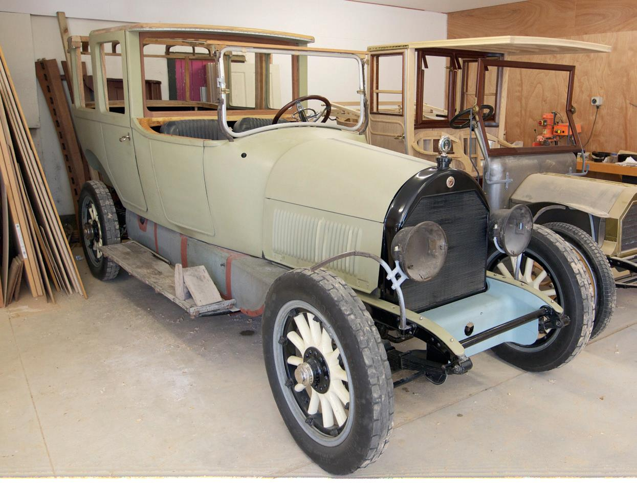 Sitting alongside the Arrol Johnston is another project, a 1918 Cadillac Landaulet.