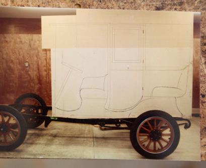 Neil's original photos of bodywork plans drawn on attached chipboard panels.