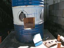 Ash and ventilation hole. Note gap in brick circle