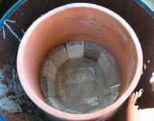 Pot on fire brick ledge.