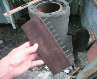 Scratch comb used to key cement mortar.