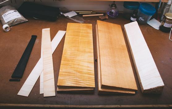 Traditional woods (from left) ebony, maple, spruce.