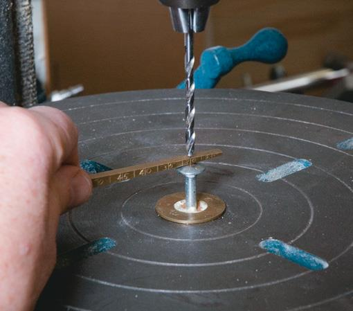 Home-made gauge sets drill depth.