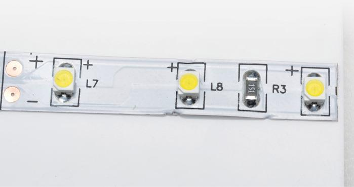 Check the LED cut point which is every three LEDs.