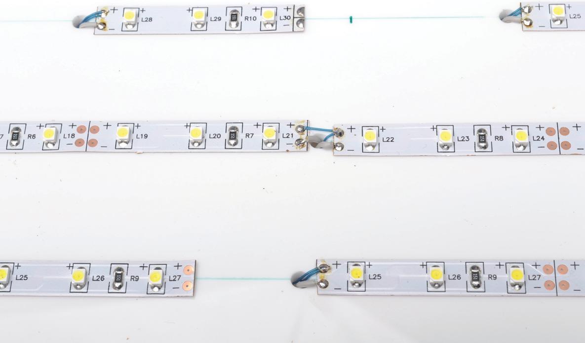 LED strip soldered.