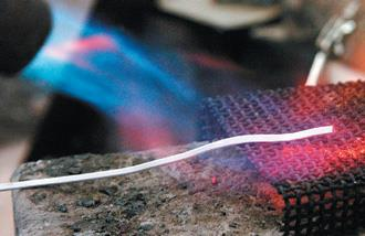 Annealing the silver.