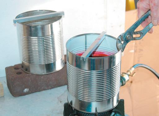 Transfer dye to burner.