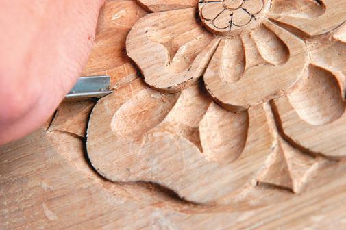 Carve where two petals meet