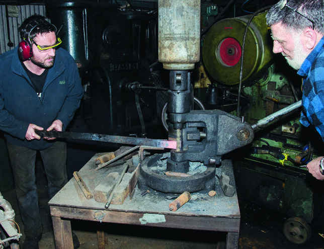 Harnessing the grunt of a machine originally used for putting the eyes on leaf springs…