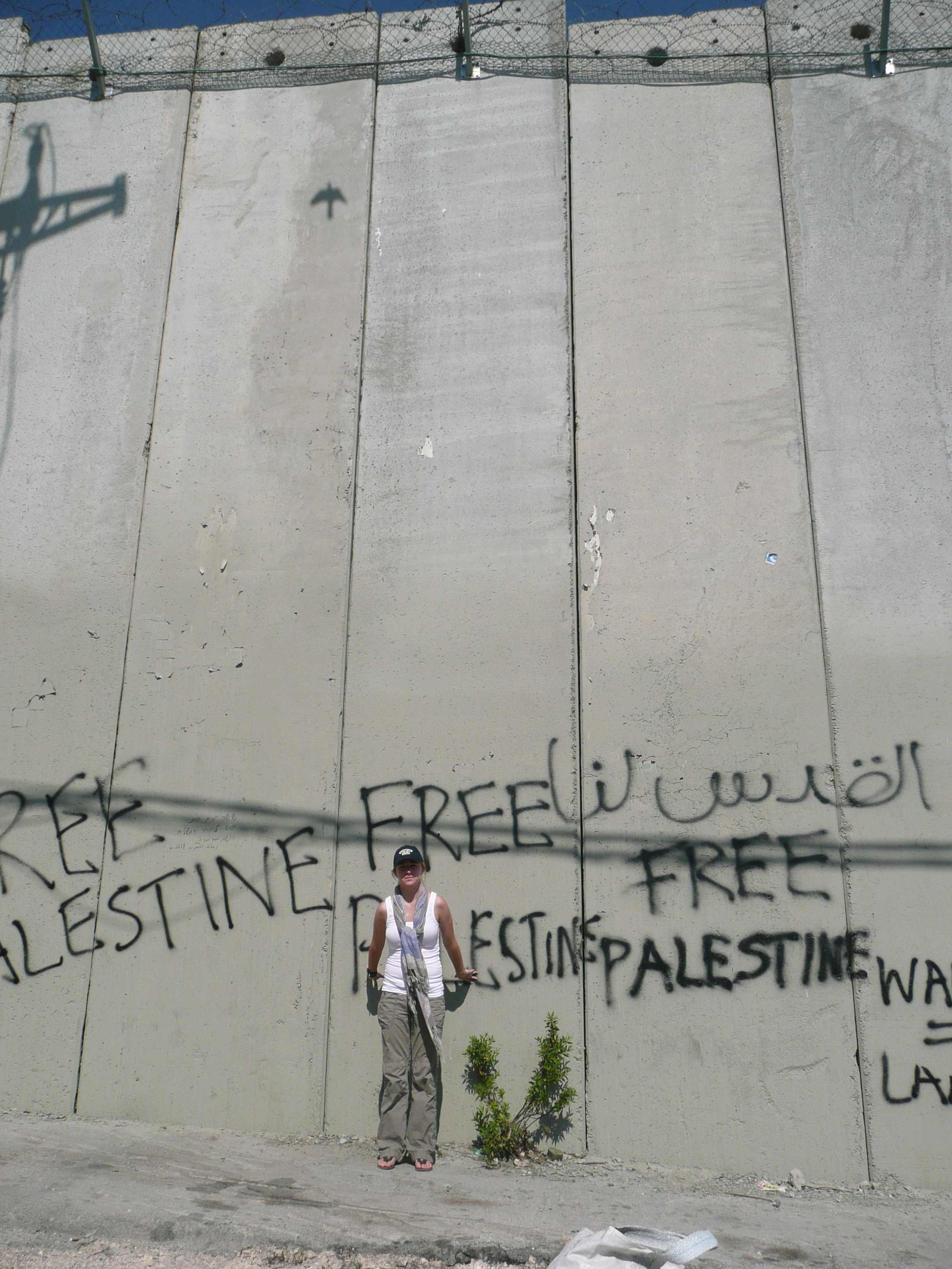 """The author in front of the Israeli """"separation barrier."""" July 2011"""