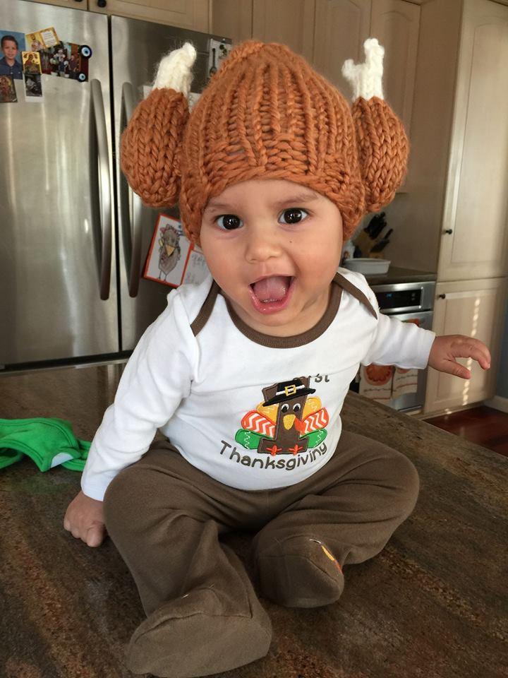 knit baby turkey leg hat