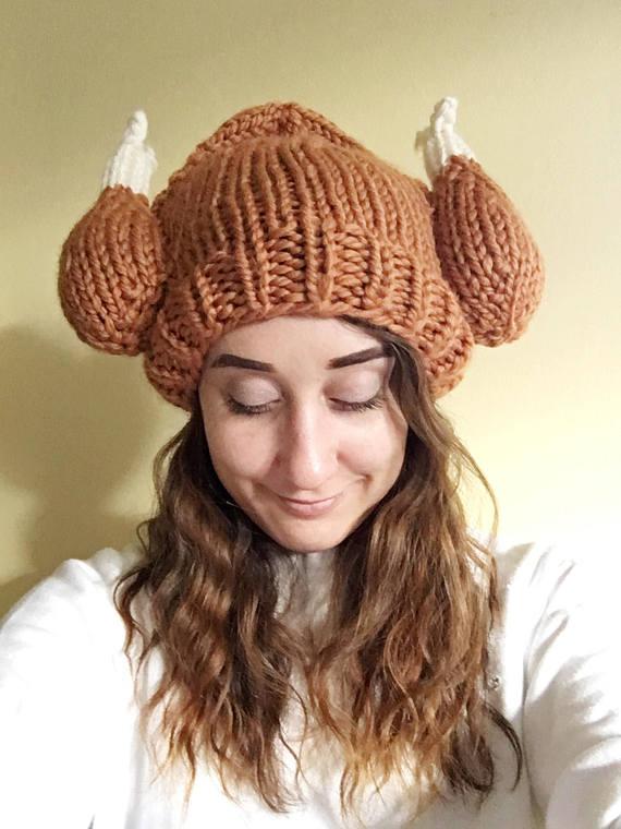 adult knit turkey leg hat