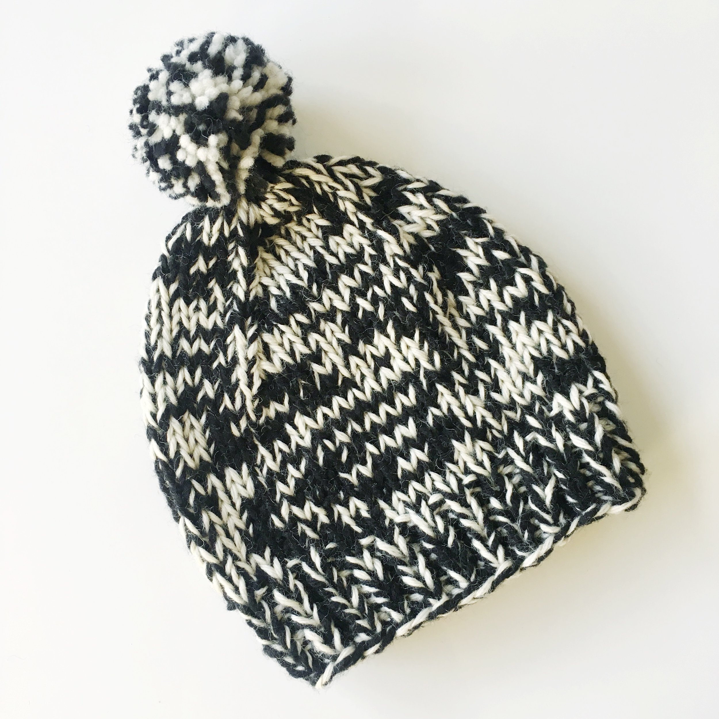 black/white knit two tone wool hat with pompom by elisemade