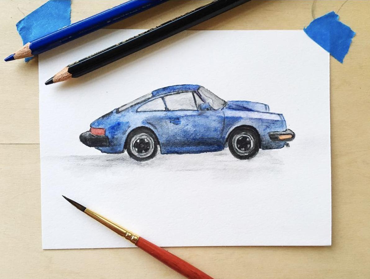1982-porsche-911-se-custom-car-watercolor-drawing-portrait-elisemade-by-elise-lopez