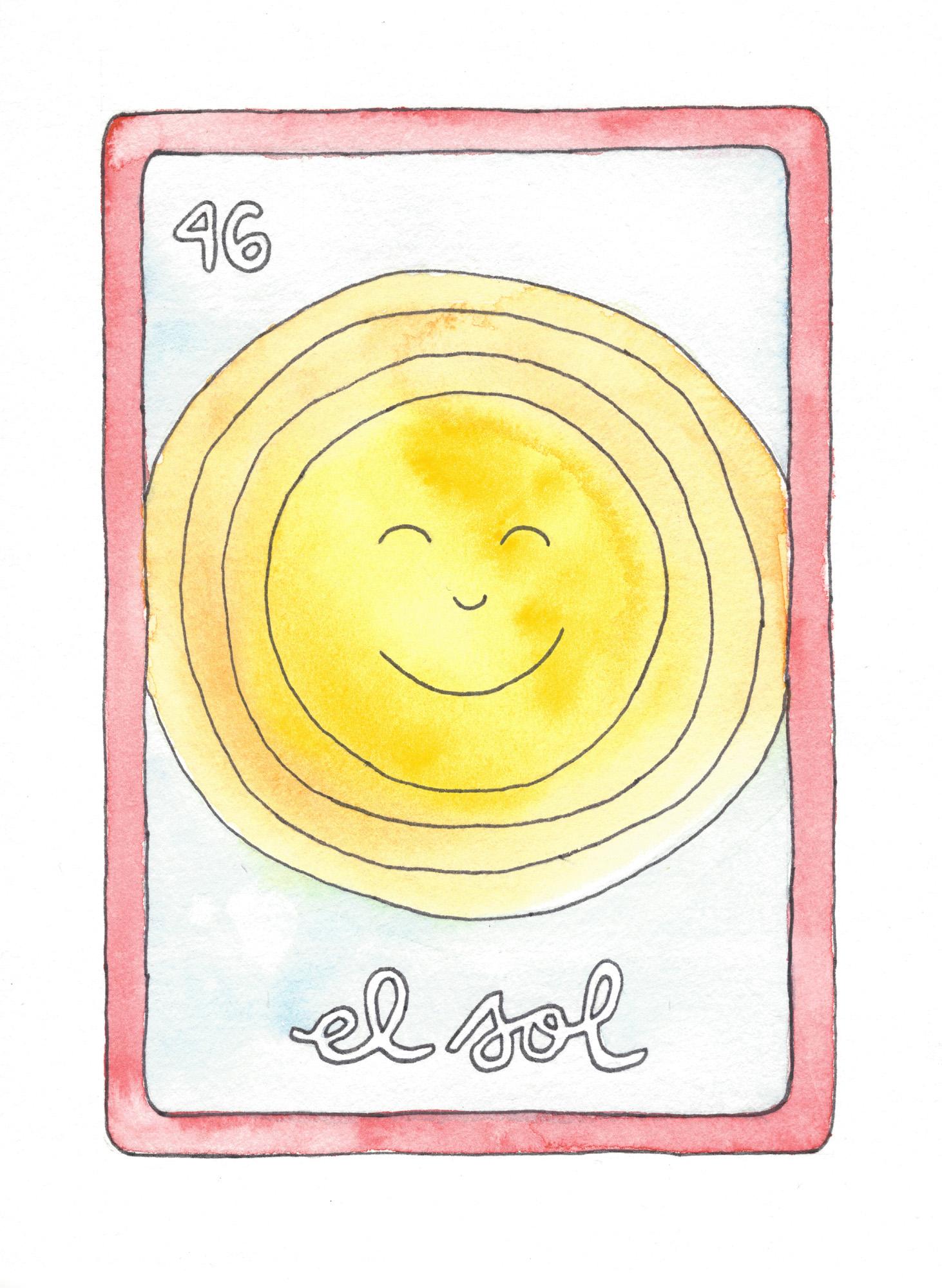 El-Sol-Loteria-Print-the-sun-watercolor-elisemade-by-elise-lopez
