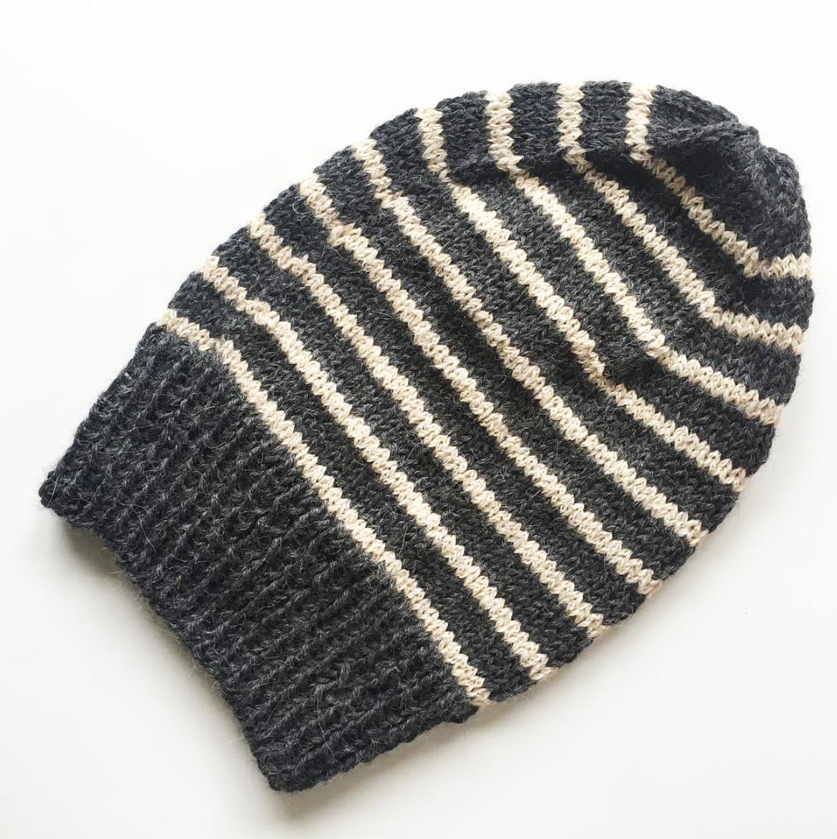 Custom Charcoal and Tan Striped Hat