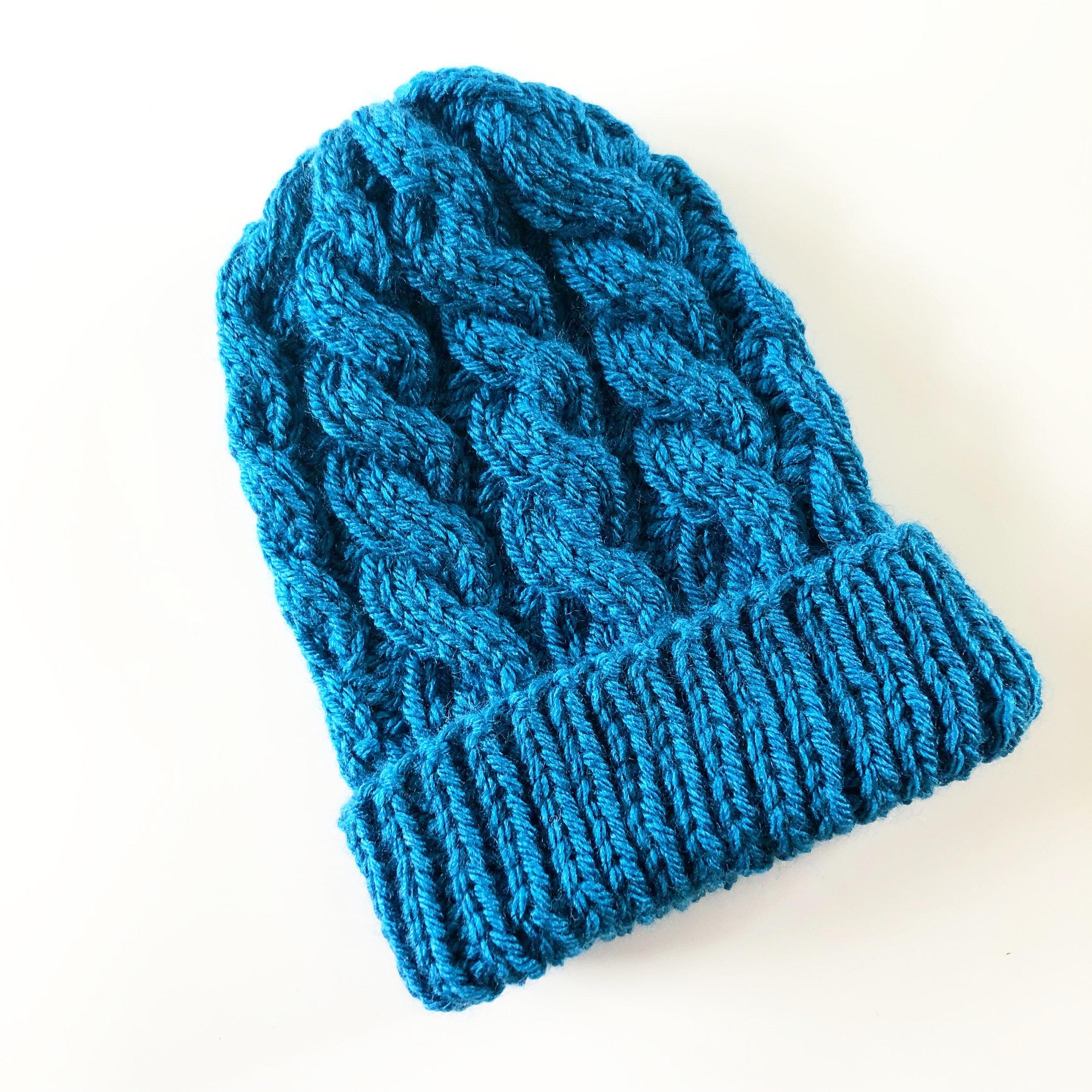 Cabled Double Brimmed Baby Hat