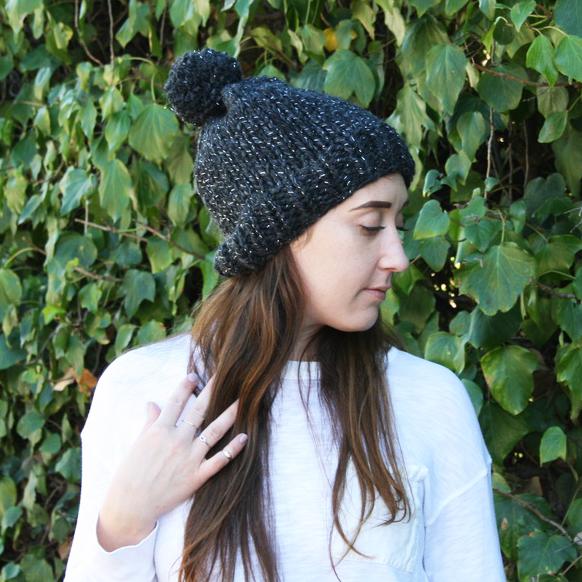 Black Sparkle Hat with Pompom