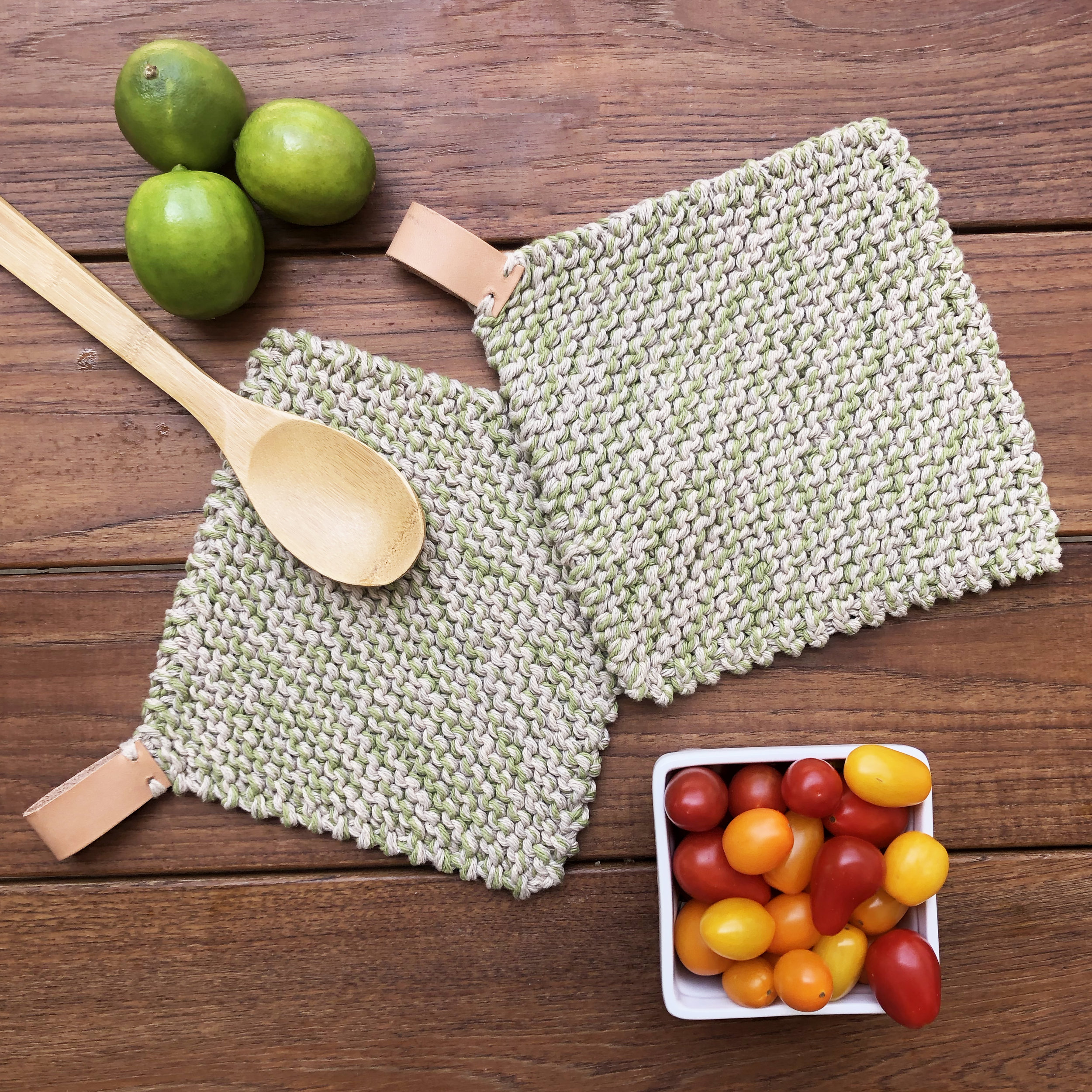 Knit Potholder with Leather Loop