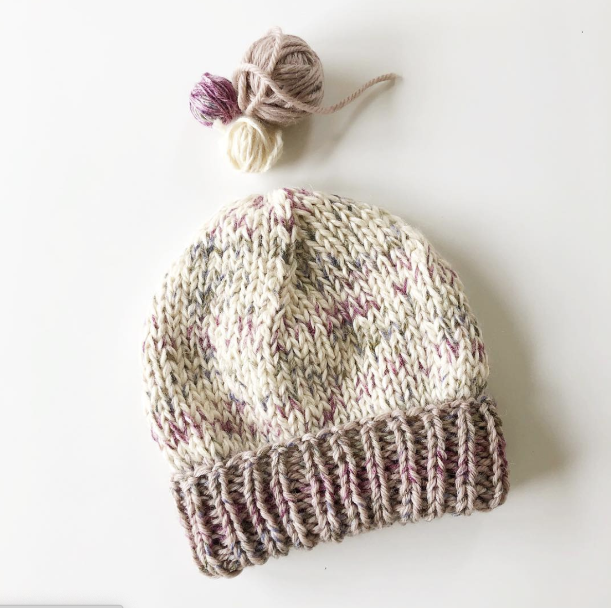Custom Marled Baby Hat with Double Brim
