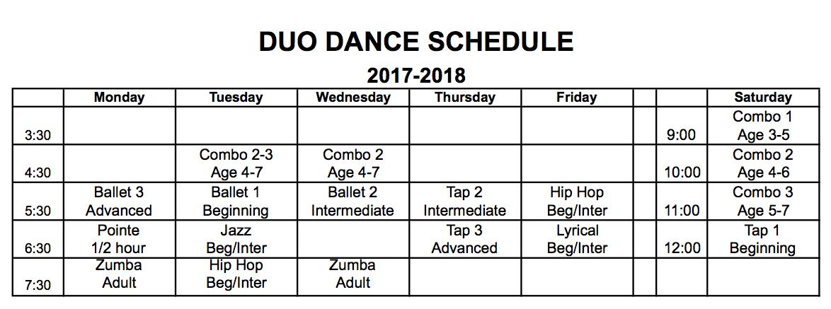 2017-2018 schedule