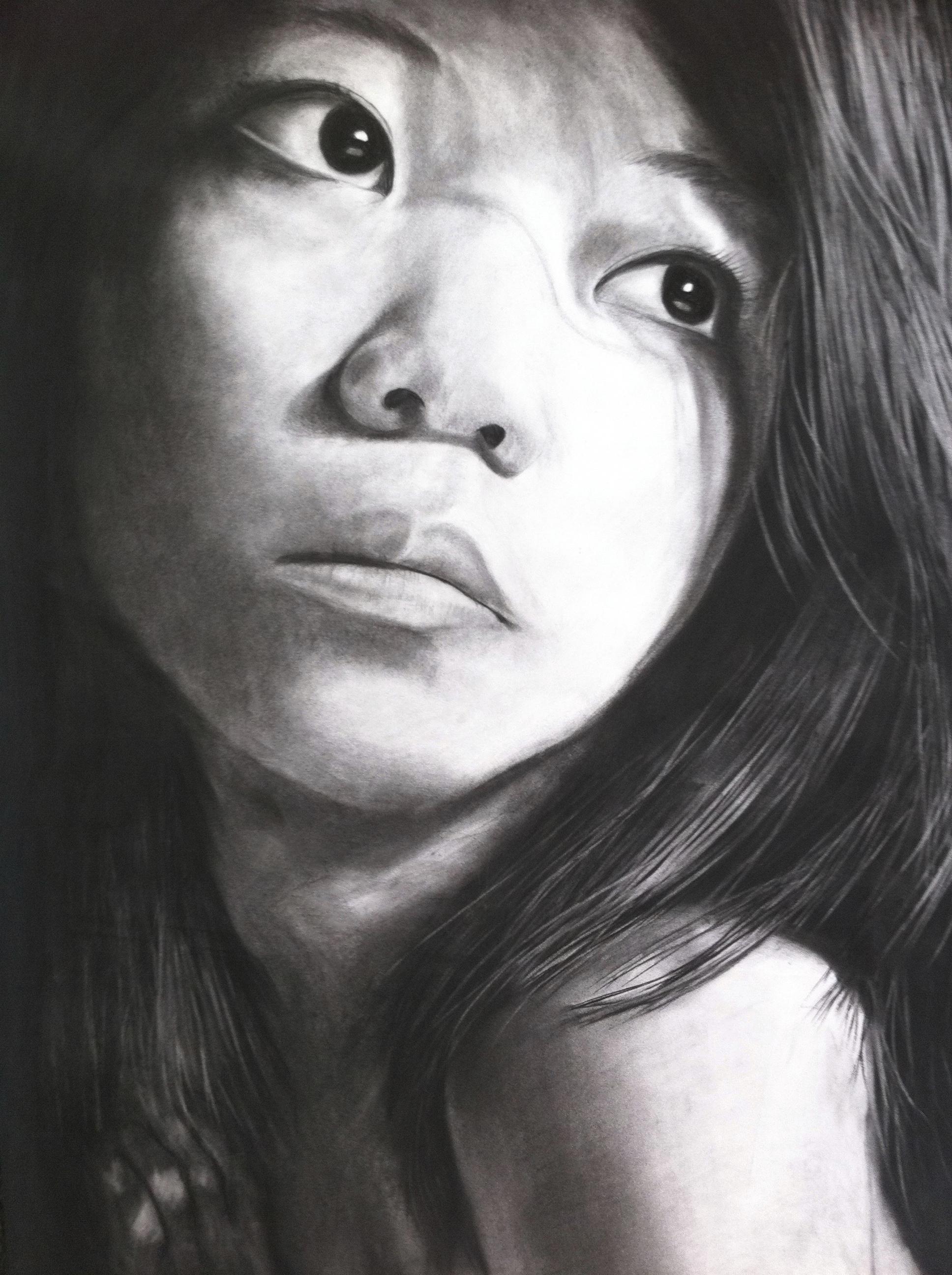 Self-portrait , charcoal