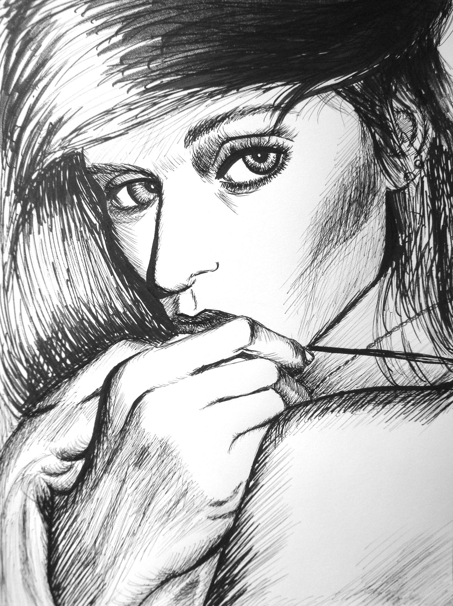 Abbey Lee , micron pen & marker