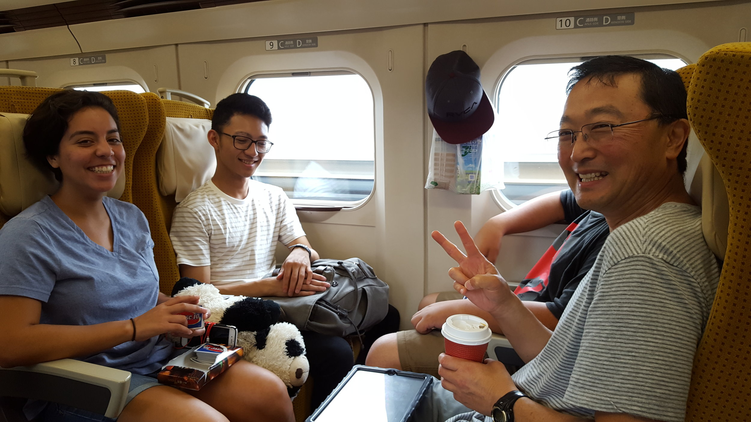 Natalie Tanaka's photo of team on Shinkansen