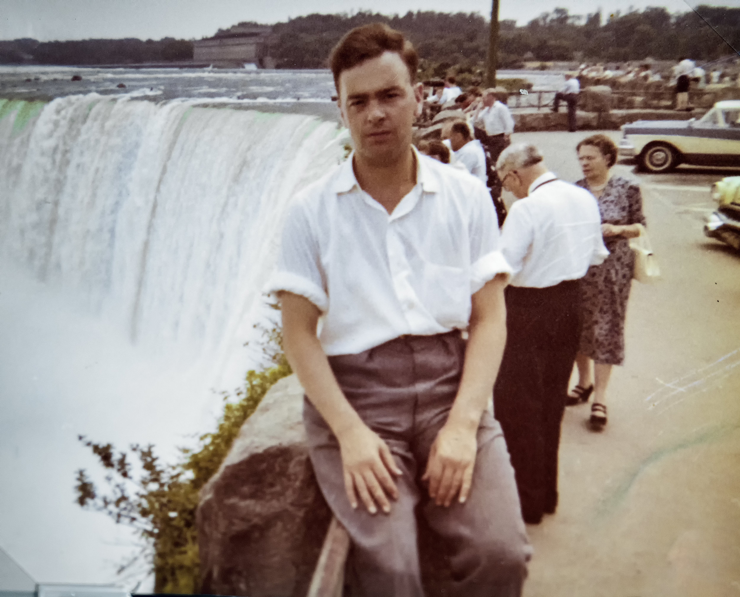 My dad in the late 50's, early 60's on a road trip to Niagara falls