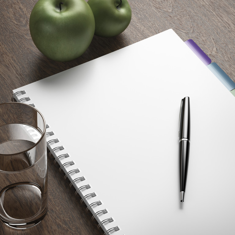 diet plan with pen and apples. 3d render