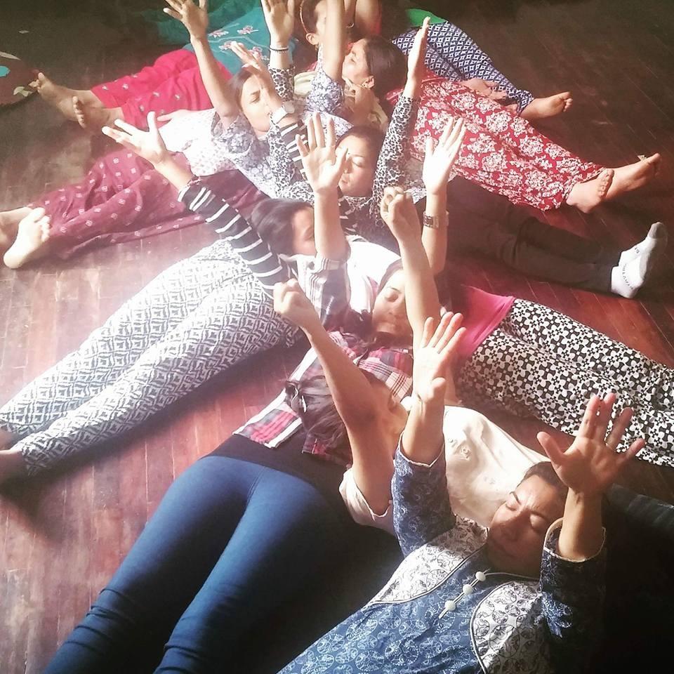 YogAct teaching teachers in Nepal.