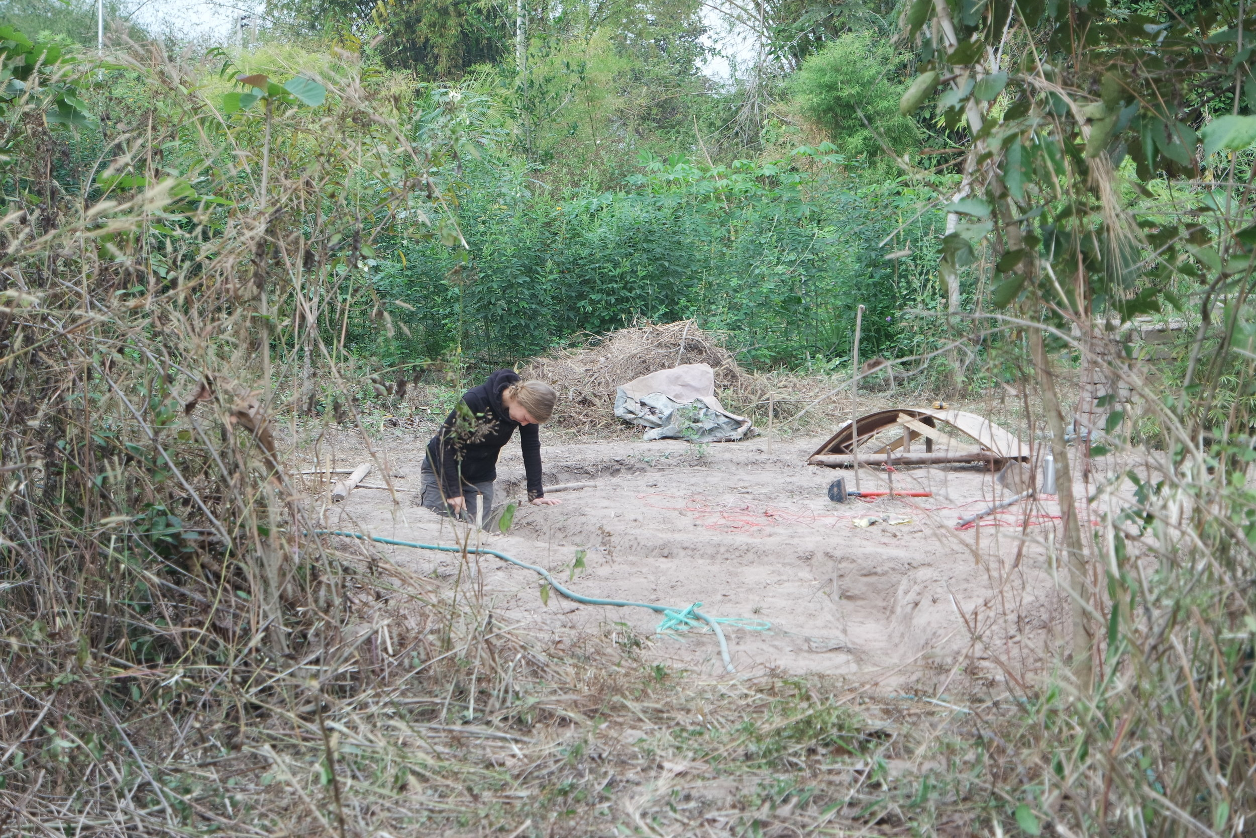 We had to cut down some grasses and plants to get a better overview and access to the construction site.