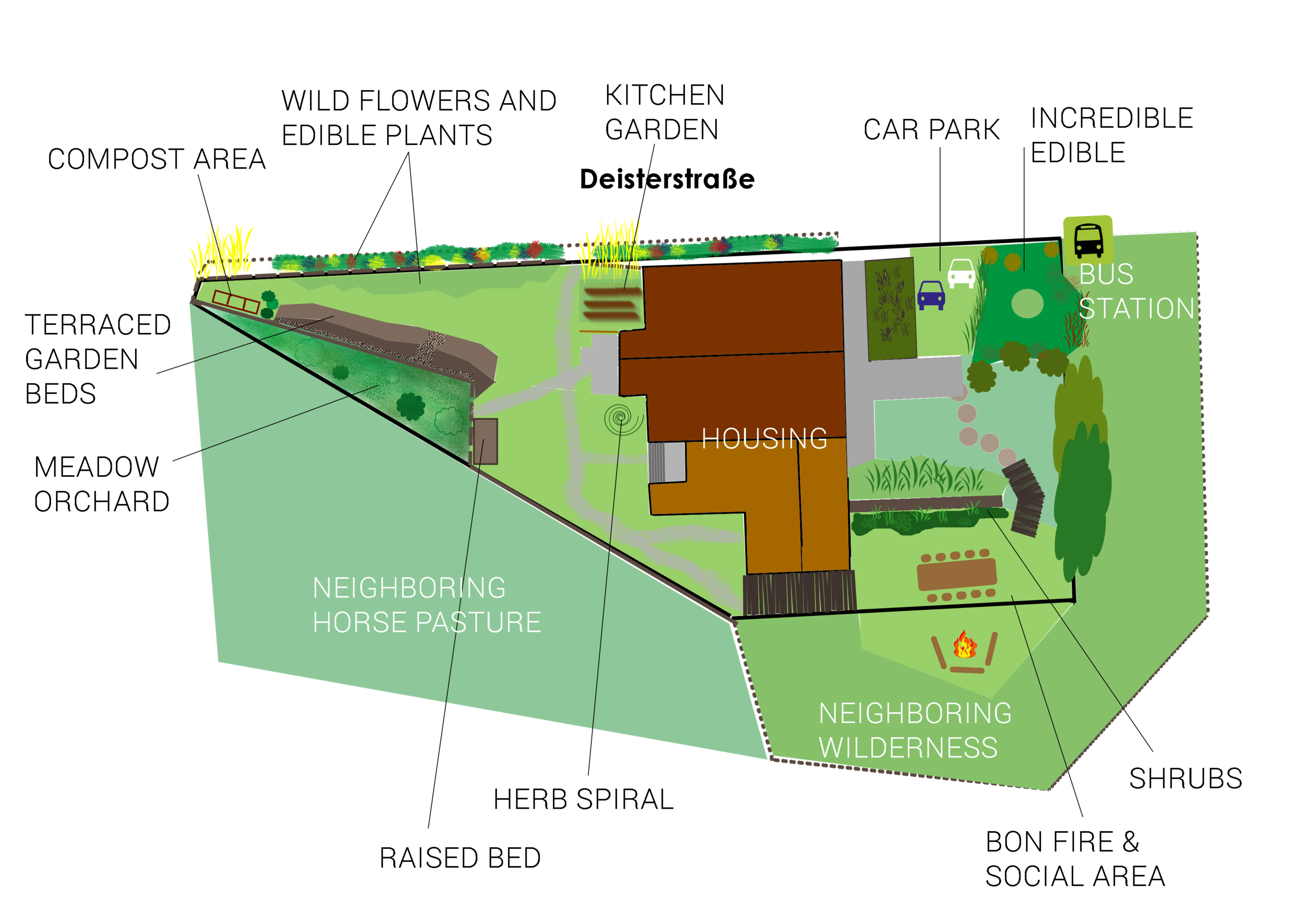 Final permaculture design plan in temperate climate in Hannover, Northern Germany.