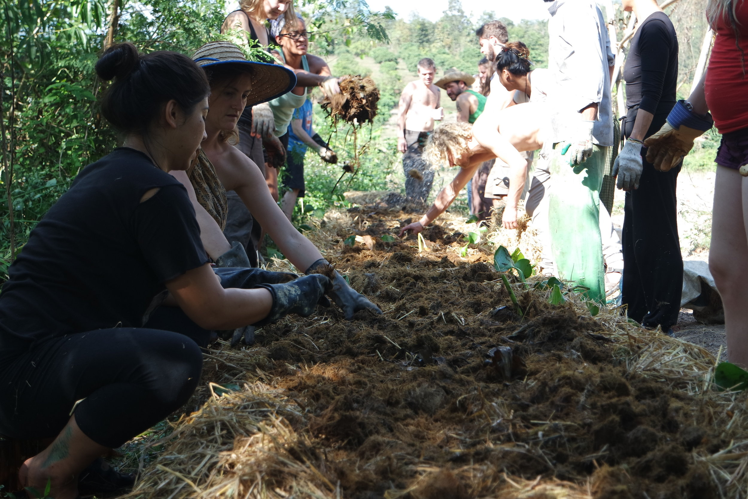 Community means working and learning together. Here we're making biochar.  Foto: Somdutta Pal